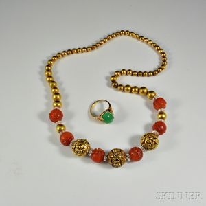 14kt Gold and Carnelian Bead Necklace and 10kt Gold and Green Hardstone Ring