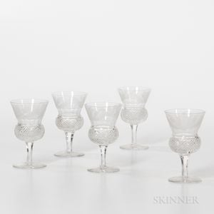 Set of Five Thistle-etched Stemmed Whiskey Glasses