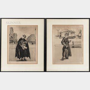 French School, 20th Century      Four Framed Intaglio Prints of Fashionably Dressed Parisian Women