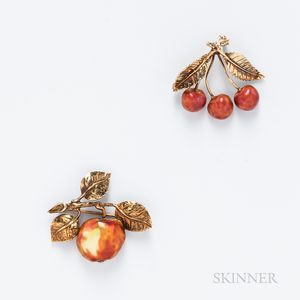 Two 14kt Gold and Enamel Fruit Brooches