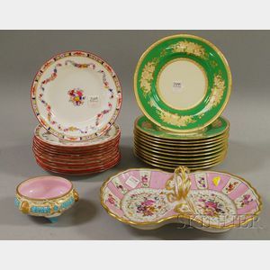 Two Set of Mintons Porcelain Plates, a Small Copeland Footed Bowl, and a KPM Gilt   and Hand-painted Porcelain Divided Dish