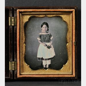 Sixth Plate Daguerreotype Portrait of a Young Girl Holding a Book