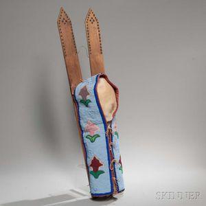 Kiowa Beaded Hide and Cloth Cradle