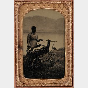 Cased Tintype Depicting a Female Slave with White Infant in a Baby Carriage