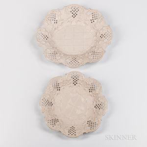 Two Molded Staffordshire Salt-glazed Stoneware Fruit Dishes