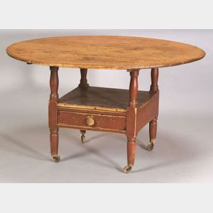 Red-Painted Pine and Maple Hutch Table