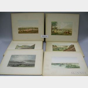 Set of Fifteen Unframed Hand-colored Lithographs Depicting Travel West Across the   United States