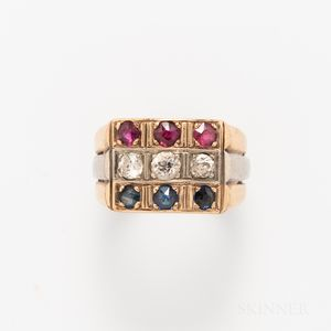 18kt Bicolor Gold, Sapphire, Ruby, and Diamond Ring
