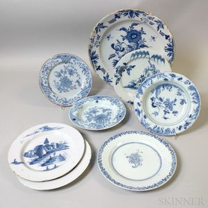 Five Delft Plates, Two Bowls, and a Charger
