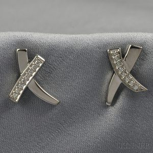 """18kt White Gold and Diamond """"X"""" Earstuds, Paloma Picasso, Tiffany & Co."""