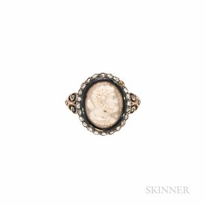 Antique 18kt Gold, Hardstone Cameo, and Diamond Ring
