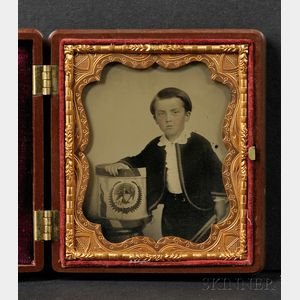 Sixth Plate Ambrotype of a Boy with His Drum, Decorated with Eagle and Shield
