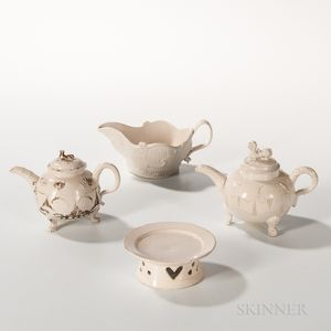 Four Staffordshire Salt-glazed Stoneware Table Items