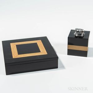 Black Lacquer Art Deco-style Table Lighter and Matching Cigar Box