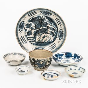 Eight Mostly Blue and White Ceramic Items