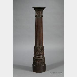 English Carved Oak Pedestal