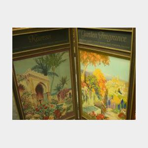 1920s Woodworth Perfumer Folding Gilt Oak and Polychrome Screened Three-Panel Retail Display