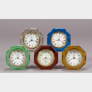 Five Glass Paperweight Clocks By E. N. Welch Manufacturing Company and Sessions