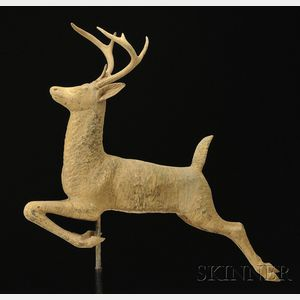 Molded Gilt Copper Leaping Stag Weather Vane