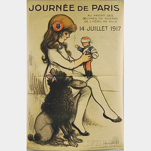 Francisque Poulbot Journée de Paris - 14 Juillet 1917   French WWI Lithograph   Poster