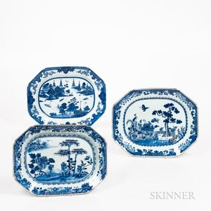 Set of Three Blue and White Export Serving Dishes
