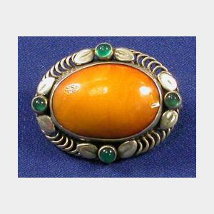 Sterling Silver, Amber, and Chalcedony Brooch