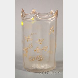 French Colorless and Parcel Gilt Glass Vase