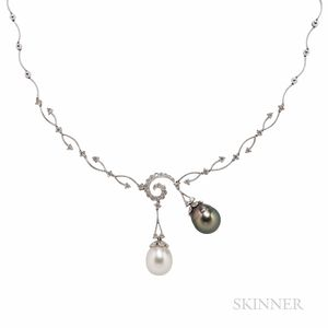 18kt White Gold, Cultured Pearl, and Diamond Necklace