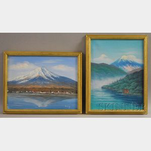 Two Framed Oil on Canvas Views of Mt. Fuji