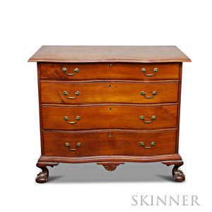 Chippendale Cherry Oxbow Serpentine Chest of Drawers