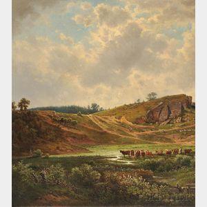 Vaclav Kroupa (Czech, 1825-1895)      Landscape with Cattle Watering