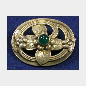 Sterling Silver and Green Chalcedony Brooch