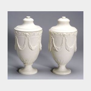 Pair of Wedgwood Queen's Ware Vases and Covers