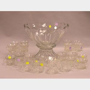 Heisey Colorless Glass Punch on Pedestal with Twenty-three Cups.