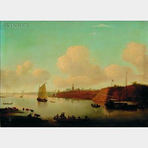 Dutch School, 18th Century Style    Quiet Harbor at Rhenen