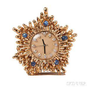 18kt Gold Gem-set Desk Clock, David Webb