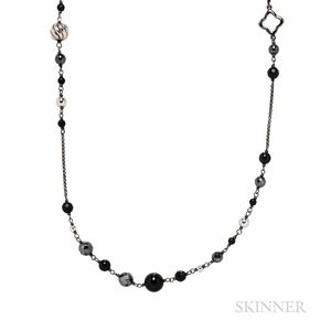David Yurman Darkened Sterling Silver, Onyx, and Hematite Necklace