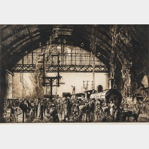 Sir Frank Brangwyn (British, 1867-1956)      Cannon Street Station, Interior