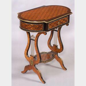 Louis XV/XVI Style Tulipwood and Ebony Parquetry Inlaid Ormolu-mounted Work Table