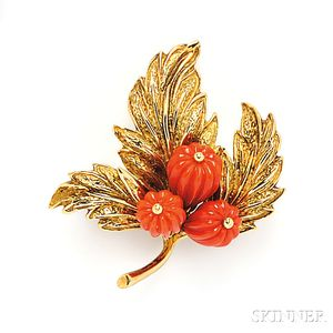 18kt Gold and Carved Coral Brooch, Tiffany & Co.