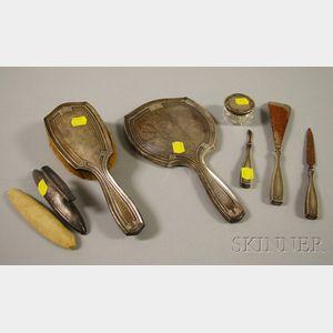 Seven-piece Gorham Greek Key-patterned Sterling Silver Dresser Set