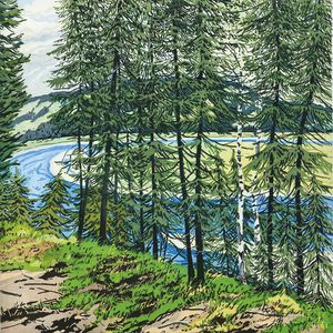 Neil Welliver (American, 1929-2005)      Synthetic Blue - St. John