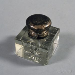 George A. Henckel & Co. Sterling Silver-lidded Colorless Glass Inkwell
