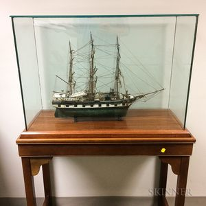 Cased, Carved, and Painted Ship Model James Arnold   on Stand