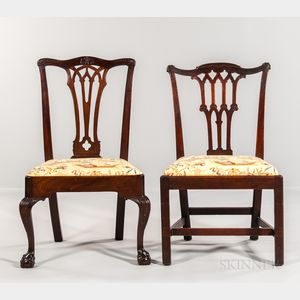 Two Chippendale Side Chairs with Gothic Splats