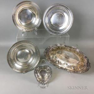 Five Sterling Silver Tableware
