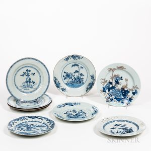 Nine Assorted Blue and White Export Plates