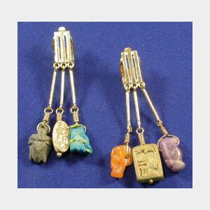 14kt Gold and Egyptian Amulet Earpendants