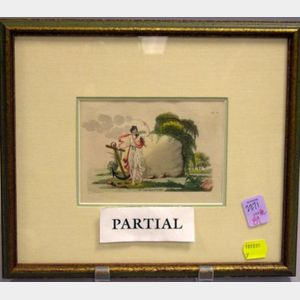 Pair of Framed French Hand-tinted Prints