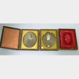 Two Cased Daguerreotype Portraits of Ladies